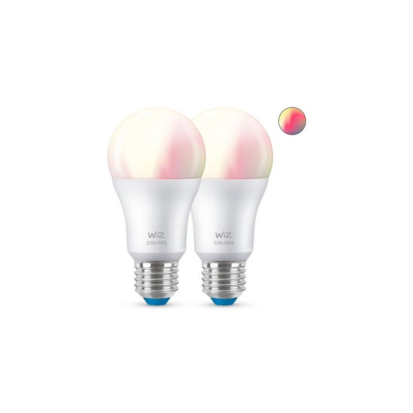 Pack of 8W E27 A60 Smart WiFi + Bluetooth WIZ RGB+CCT Dimmable LED Bulbs (2 un)