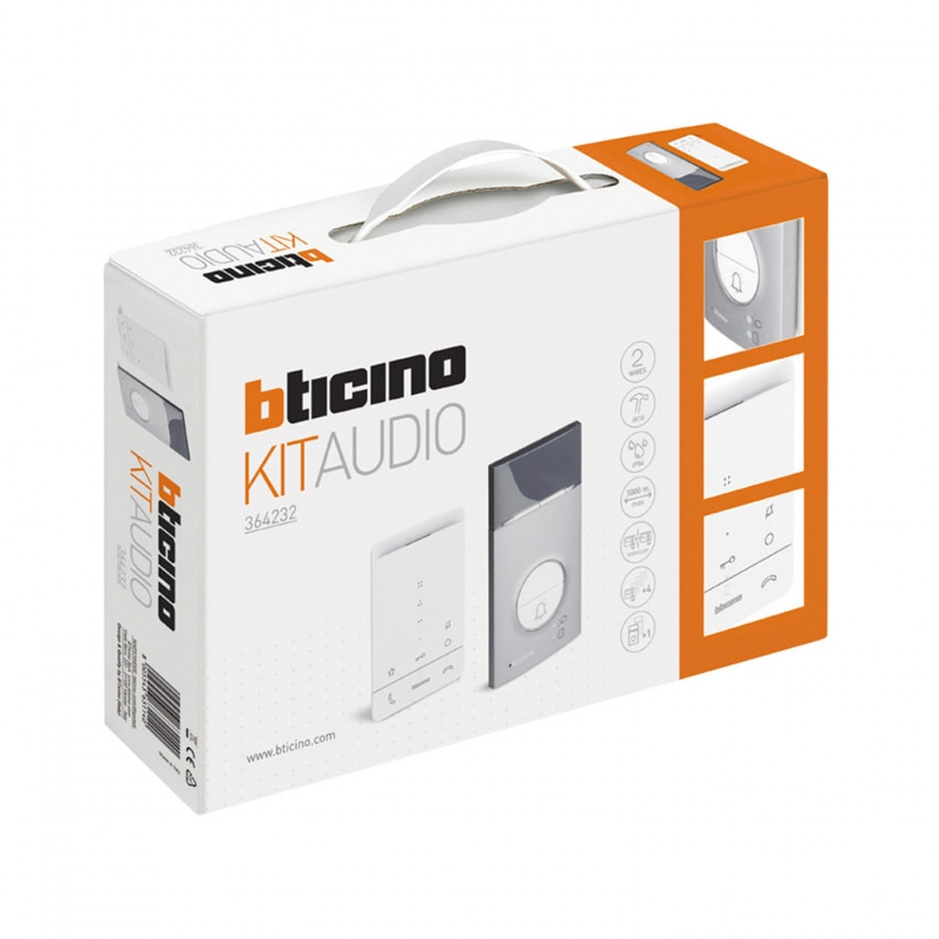 BTICINO 364232 1 House 2-Wire CLASS 100 Door Entry Kit with LINEA 3000 Panel and Handsfree Telephone