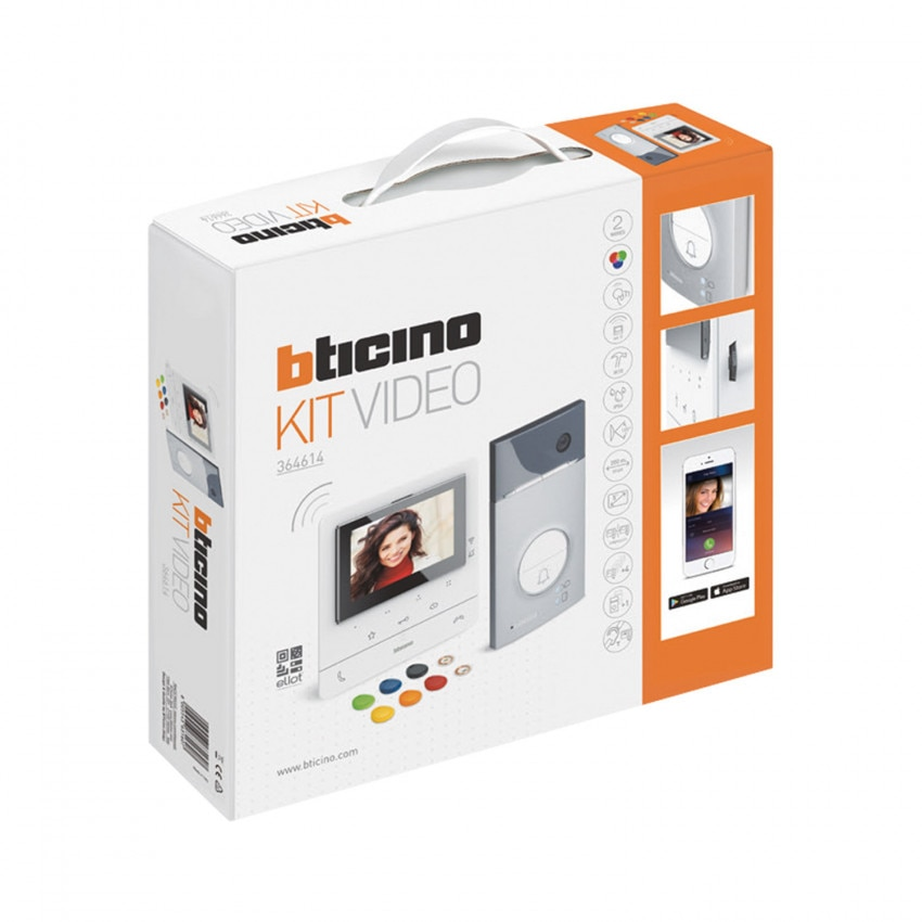 BTICINO 364614 1 House 2-Wire CLASSE 100 Connected Video Entry Kit with LINEA 3000 Panel and Handsfree Monitor