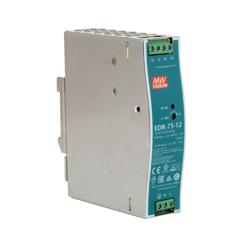 75W 12V 6.3A MEAN WELL Power Supply/Transformer for DIN rail