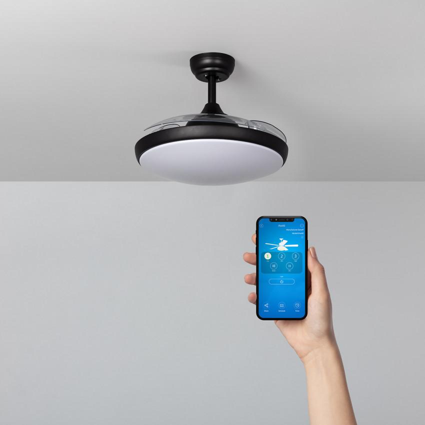 Black 106cm Kourak LED Wifi Ceiling Fan with DC WiFi Motor