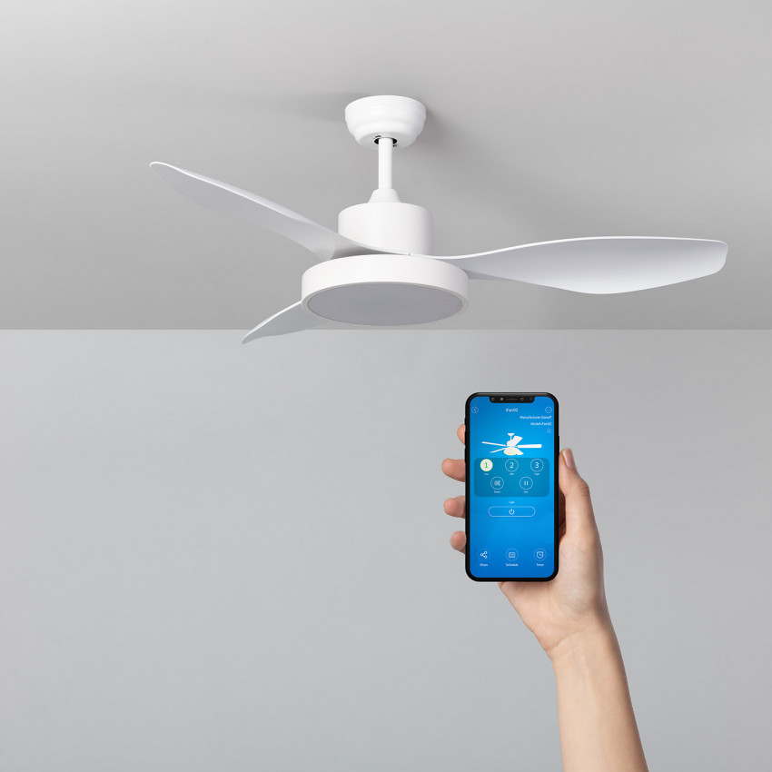 White 132cm Caspio LED WiFi Ceiling Fan with DC Motor