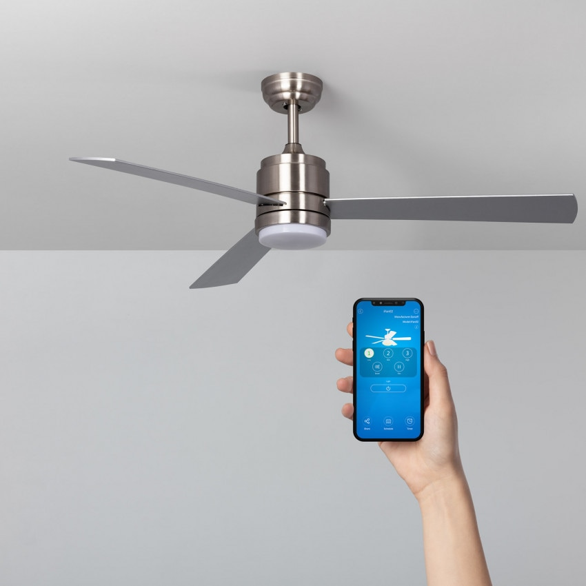 132cm Nickel Atlantis LED  WiFi Ceiling Fan with DC Motor