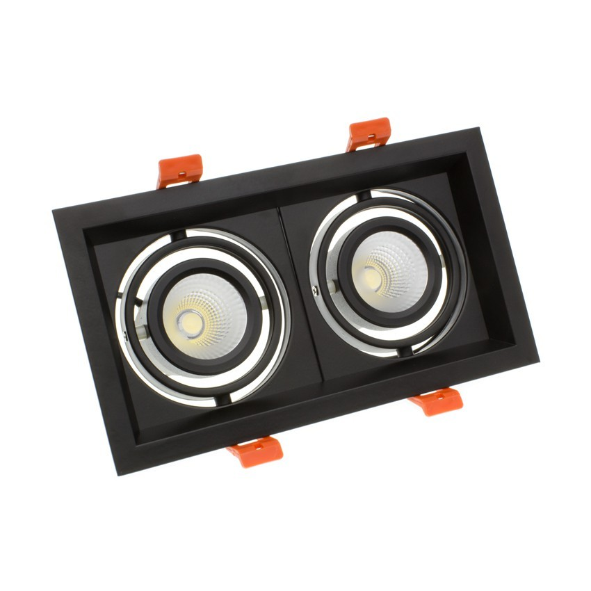 2x10W Adjustable Madison CREE-COB LED Spotlight in Black - LIFUD (UGR 19) 200x110mm Cut Out