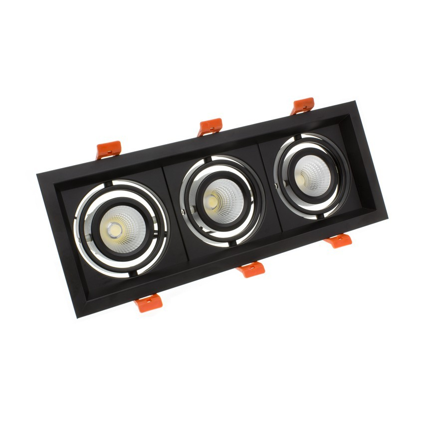 3x10W Adjustable Madison CREE-COB LED Spotlight in Black - LIFUD (UGR 19) 295x110mm Cut Out