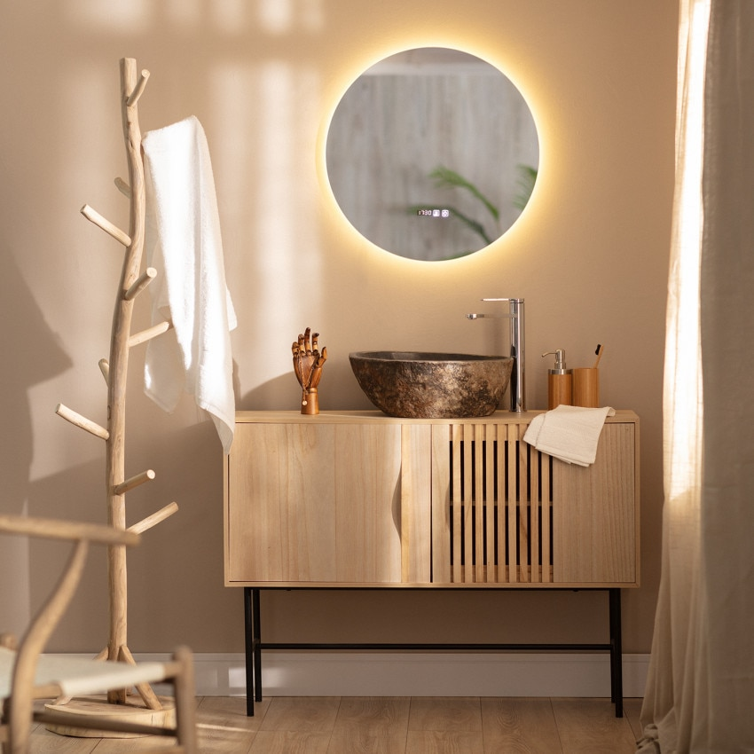 Big Volpe Anti-fog Tactile LED Decorative Mirror Ø60 cm