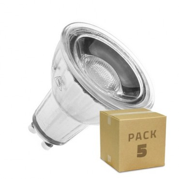 PACK of 5 Glass GU10 220V 7W COB LED Lamps (Dimmable)