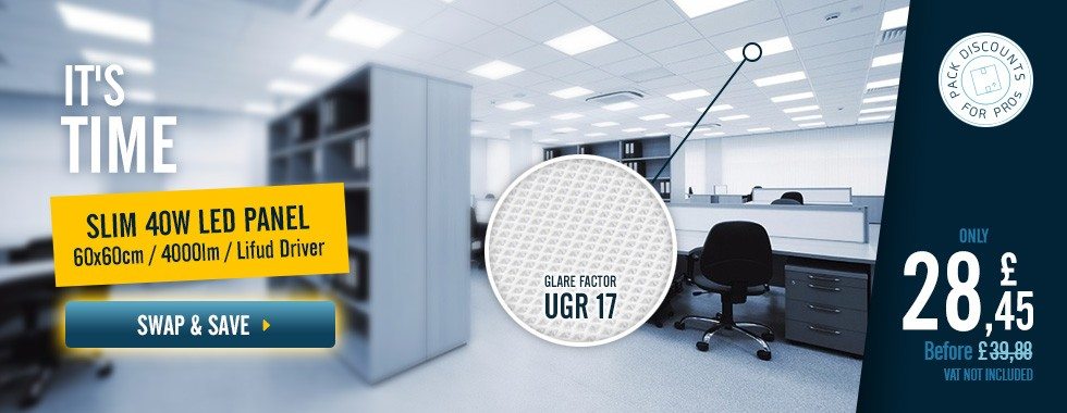 40W 60x60cm Slim LED Panel 4000lm (UGR17)